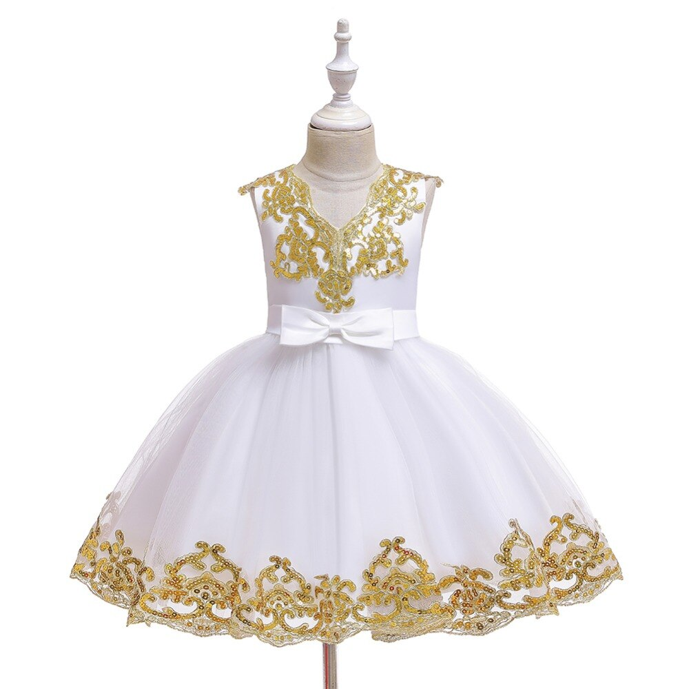 Retail New Sequin embroidery 1-12 Years Baby Girl Dress Wedding Girls Kids Party Dress Bow tutu Princess Elegant Dress